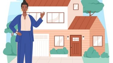 Homeworker woman outside her house